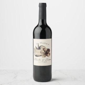 Vintage Tropical Coconut & Hibiscus Wedding Wine Wine Label