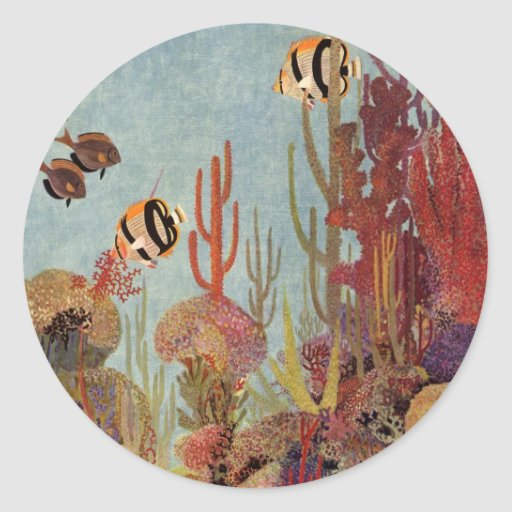 Vintage Tropical Fish and Coral in the Ocean Round Sticker