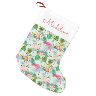 Vintage Tropical Flowers And Birds | Add Your Name Small Christmas Stocking