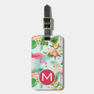 Vintage Tropical Flowers And Birds | Monogram Luggage Tag