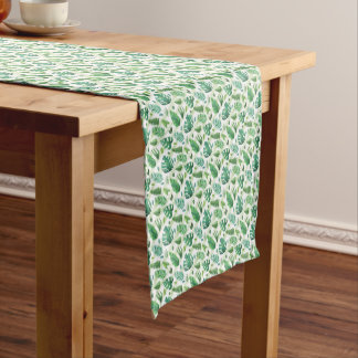 Vintage Tropical green leaves selection Short Table Runner