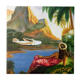 Vintage Tropical Hawaiian Sea Plane Palm Tree Tile