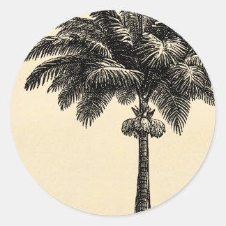 Vintage Tropical Island Palm TreeTemplate Blank Round Sticker