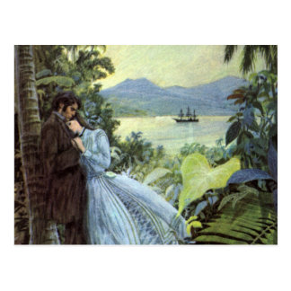 Vintage Tropical Love Post Card