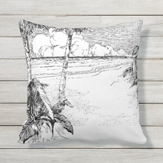 Vintage Tropical Palm Tree Beach Etching Pillow