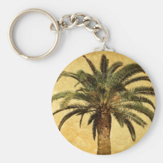 Vintage Tropical Palm Tree Basic Round Button Key Ring