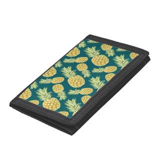 Vintage Tropical Pineapple Print Tri-fold Wallet