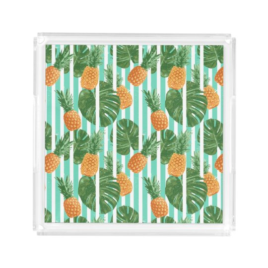 Vintage Tropical Pineapple Vector Seamless Pattern Acrylic Tray