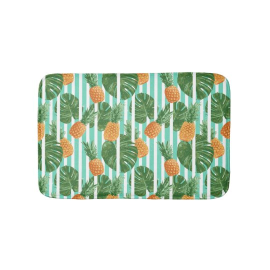 Vintage Tropical Pineapple Vector Seamless Pattern Bath Mat