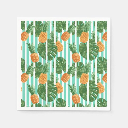 Vintage Tropical Pineapple Vector Seamless Pattern Disposable Napkin