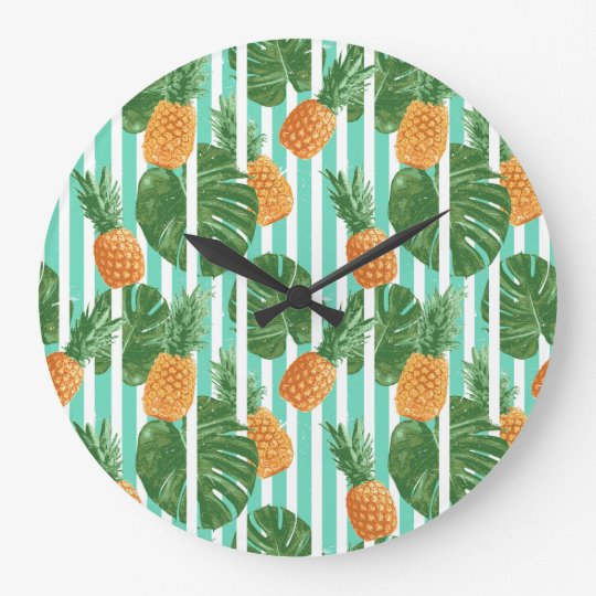 Vintage Tropical Pineapple Vector Seamless Pattern Large Clock