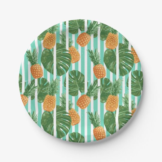 Vintage Tropical Pineapple Vector Seamless Pattern Paper Plate
