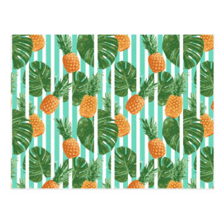 Vintage Tropical Pineapple Vector Seamless Pattern Postcard