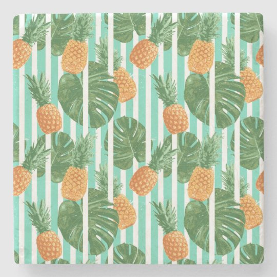 Vintage Tropical Pineapple Vector Seamless Pattern Stone Coaster