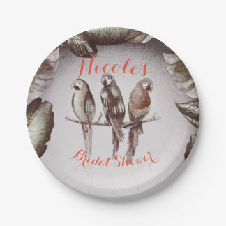 Vintage Tropical Tiki Birds Parrots & Leaves Party Paper Plate