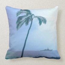 Vintage Tropics Cotton Throw Pillow