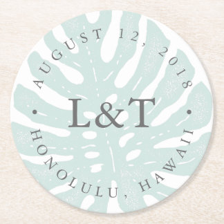 Vintage Tropics Destination Wedding Round Paper Coaster