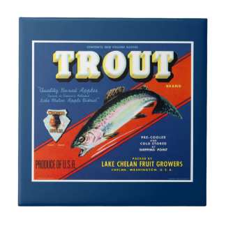 Vintage Trout Brand Apple Label Ceramic Tile