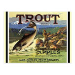 Vintage Trout Brand Fly Fisherman Apples Postcards