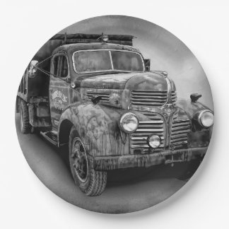 VINTAGE TRUCK 9 INCH PAPER PLATE