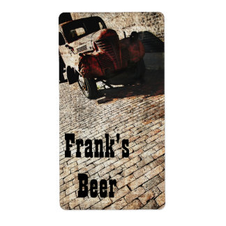 vintage truck beer bottle label shipping label