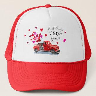 Vintage Truck Hearts Anniversary Add Names Trucker Hat