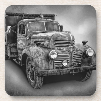 VINTAGE TRUCK IN BLACK AND WHITE COASTER
