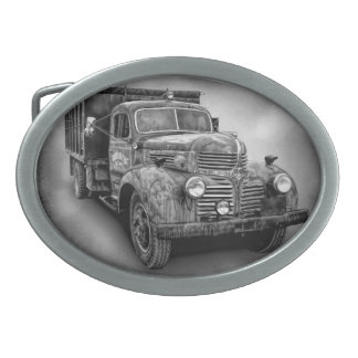 VINTAGE TRUCK IN BLACK AND WHITE OVAL BELT BUCKLE
