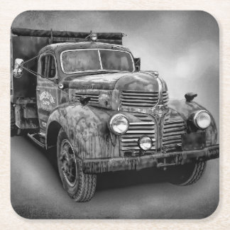 VINTAGE TRUCK IN BLACK AND WHITE SQUARE PAPER COASTER