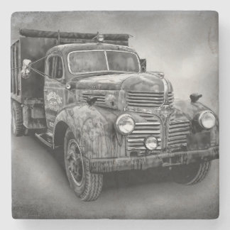 VINTAGE TRUCK IN BLACK AND WHITE STONE COASTER