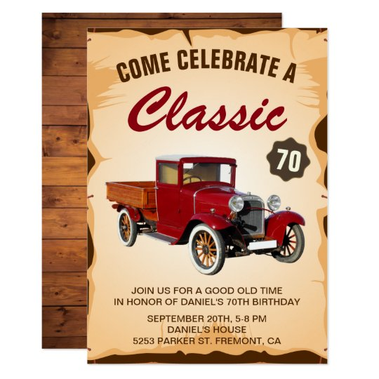 Vintage Truck Milestone Birthday Party Invitation Zazzle Com Au