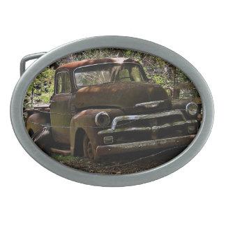Vintage truck oval belt buckles
