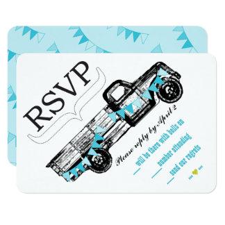 Vintage Truck RSVP Getting Hitched Retro RSVP Card