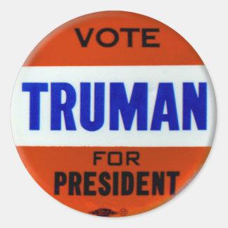 Vintage Truman Campaign Button Vote for Truman Classic Round Sticker