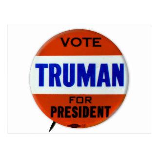Vintage Truman Campaign Button Vote for Truman Postcard