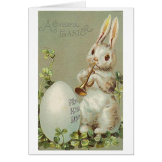 Vintage Trumpet Playing Bunny Easter Card