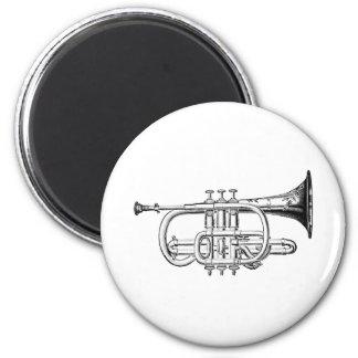 Vintage Trumpet Wood Engraving 6 Cm Round Magnet