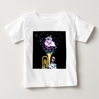 Vintage Tuba Player and Singer Music Notes Baby T-Shirt