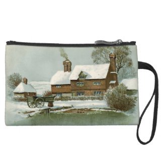 Vintage Tudor Country Cottage Suede Wristlet