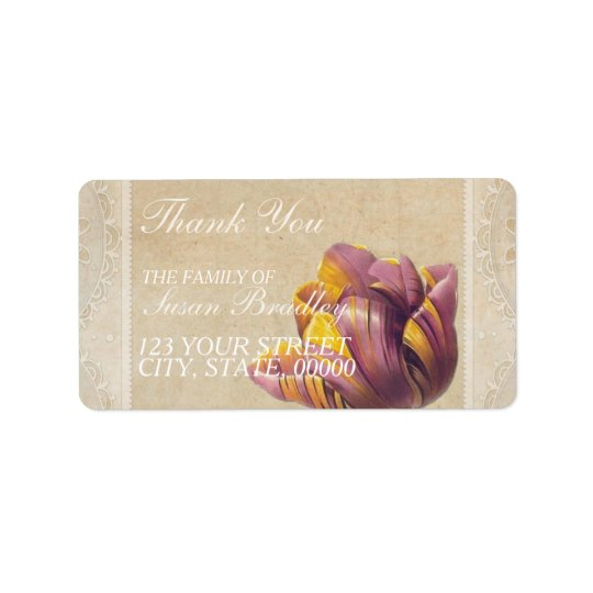 Vintage Tulip Family Thank You Label Address Label