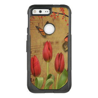 Vintage Tulip Flowers Music Notes With Butterflies OtterBox Commuter Google Pixel Case