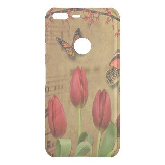 Vintage Tulip Flowers Music Notes With Butterflies Uncommon Google Pixel XL Case
