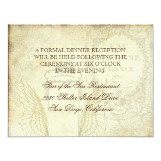 Vintage Tulips Angel Wings Swirl Tea Stained Red Invitations