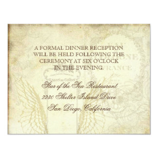 Vintage Tulips Angel Wings Swirl Tea Stained Red Personalized Announcements