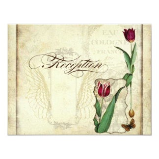 Vintage Tulips Angel Wings Swirl Tea Stained Red Personalized Invites