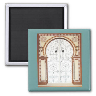 Vintage Tunisian  traditional Door Square Magnet