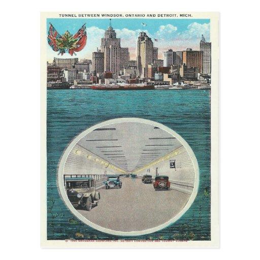 Vintage Tunnel Windsor Ontario Detroit Michigan Post Card