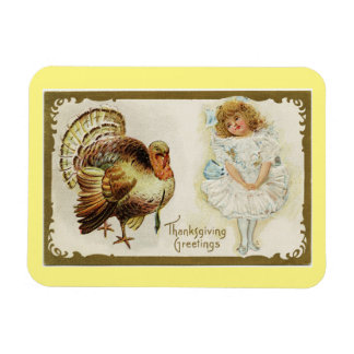 Vintage Turkey And Girl Rectangular Photo Magnet