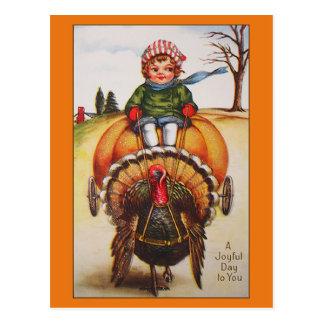 Vintage Turkey Day Illustration Thanksgiving Cards Postcard