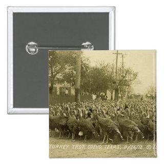 Vintage Turkey Farm Photograph 15 Cm Square Badge